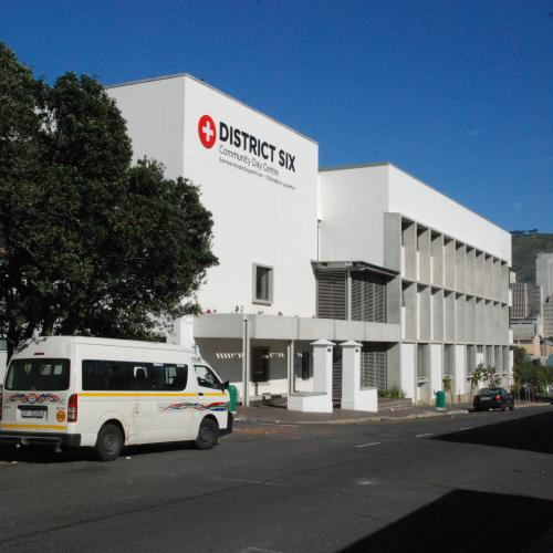 View of District Six Community Health Care Centre looking west, down Caledon Street
