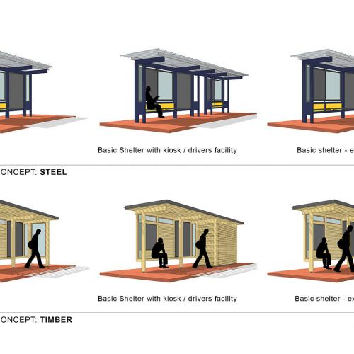 Bus shelter concept in steel and timber