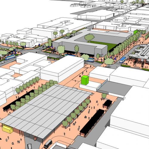 Birds eye view of concept for George CBD, Cradock Street precinct with new bus service infrastructure and proposed pedestrian link