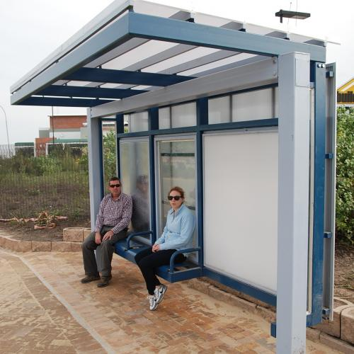 Bus shelter prototype 2: Steel structure with translucent shell