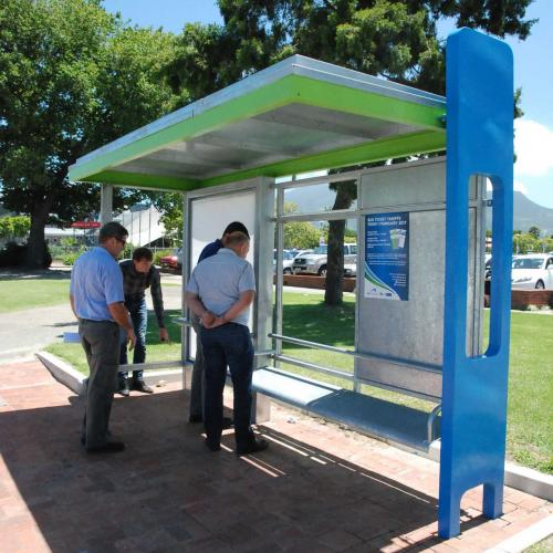 Bus shelter prototype 1: Steel structure with post