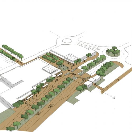 Birds eye view of the conceptual proposal for Garden Route Mall transfer point